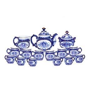Чайный сервиз «Синяя деревня»