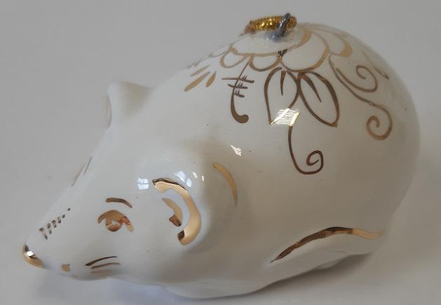 Скульптура Мышь белая в золоте