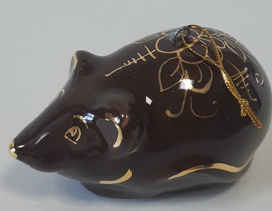 Скульптура Мышь коричневая в золоте