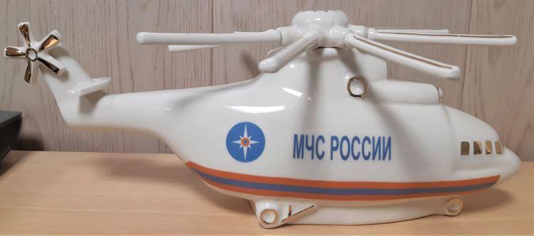 Штоф Вертолет белый в золоте